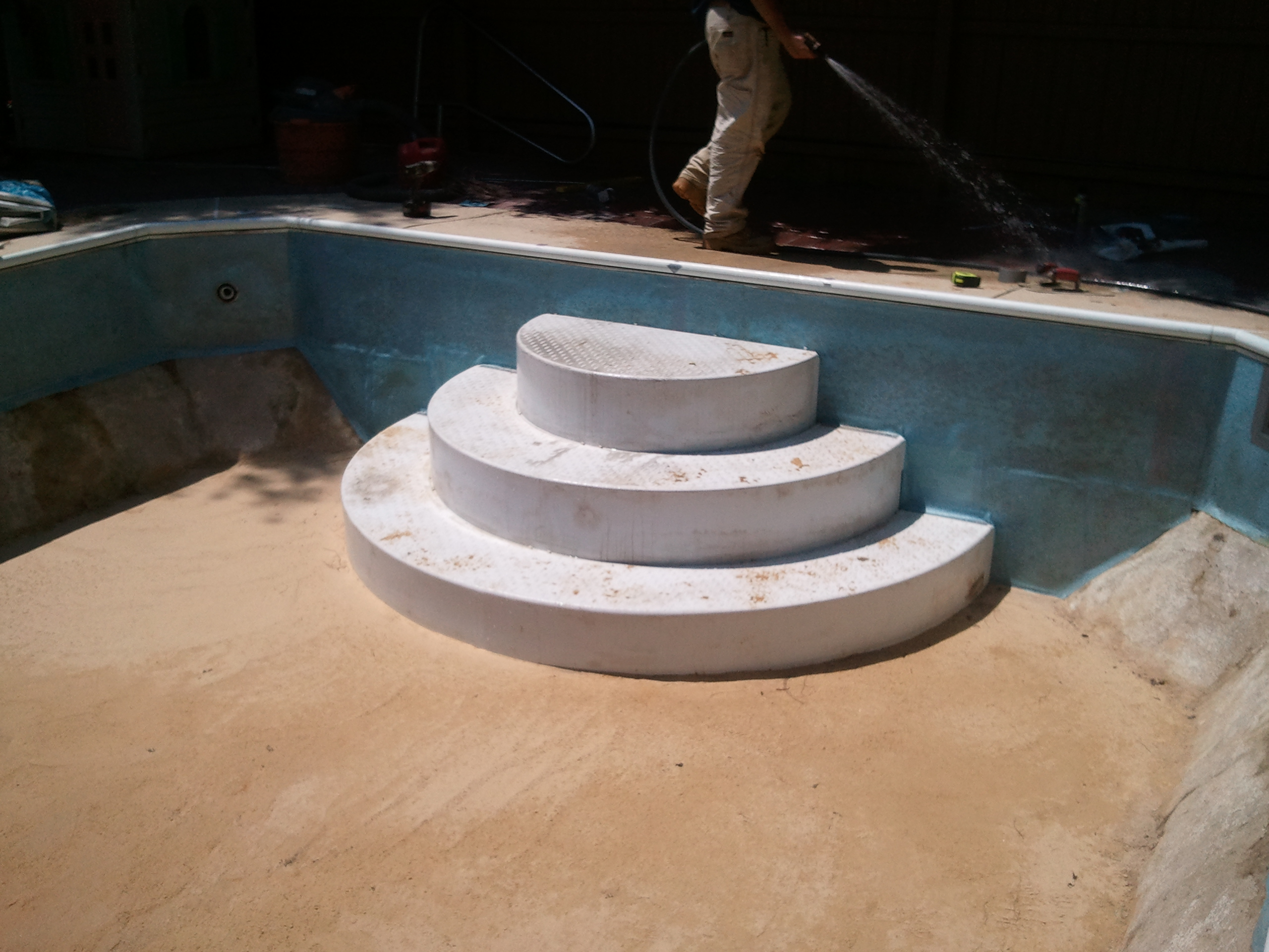 wedding cake pool steps before amp after photos of swimming pool construction 8723